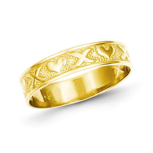 14kt Yellow Gold Polished Xs and Hearts Ring