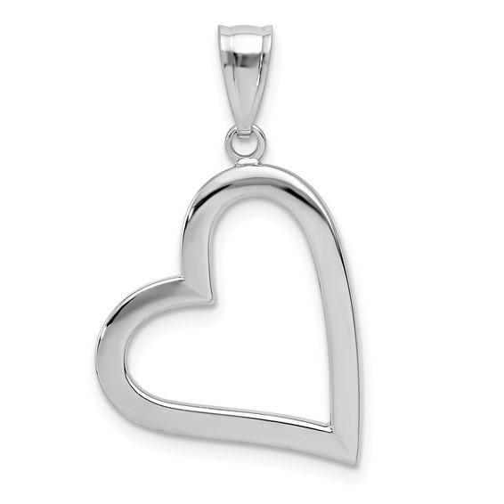 14kt White Gold 3/4in Hollow Open Heart Pendant