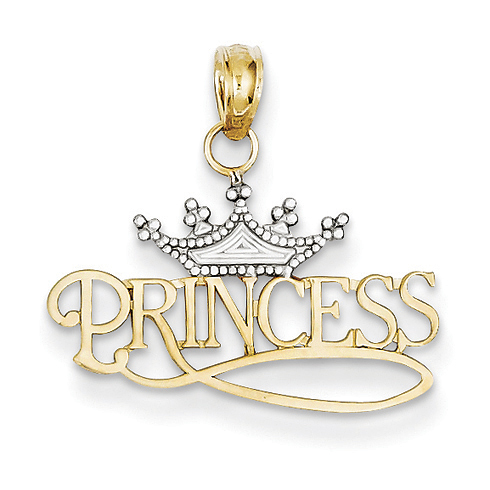14kt Yellow Gold and Rhodium Princess with Crown Pendant