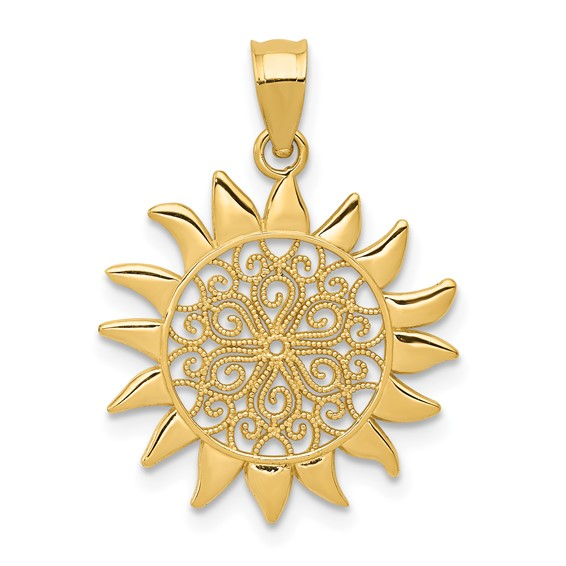 14kt Yellow Gold Small Filigree Sun Pendant