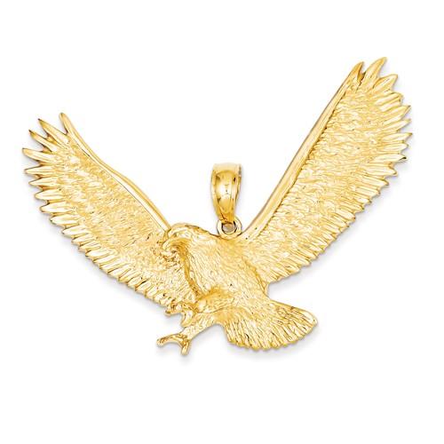14kt Yellow Gold 2in Jumbo Landing Eagle Pendant