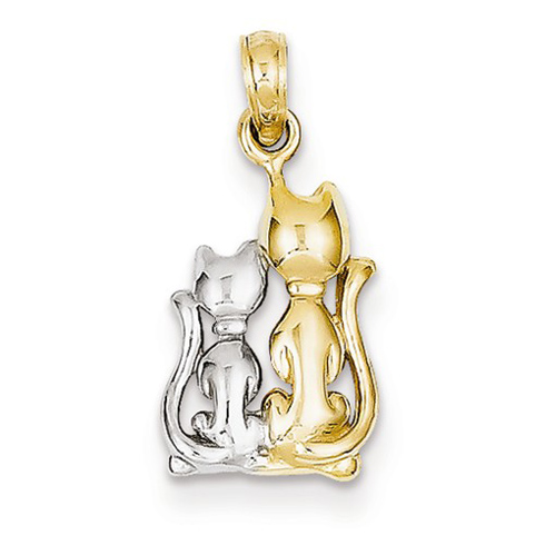 14kt Yellow Gold & Rhodium Sitting Cats Charm