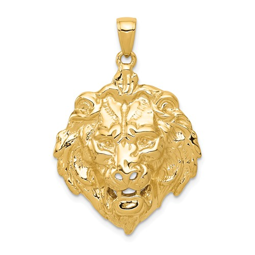 14k Yellow Gold Lion Head Pendant 1in