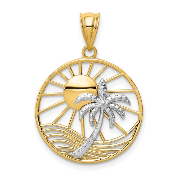 14kt Two-tone Gold 3/4in Sun and Palm Tree Pendant