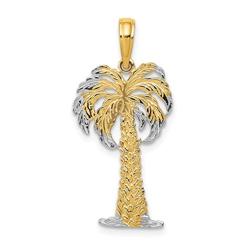 14k Yellow Gold Palm Tree Pendant with Rhodium Accents 7/8in
