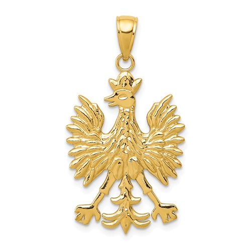 14k Yellow Gold Eagle Pendant 7/8in