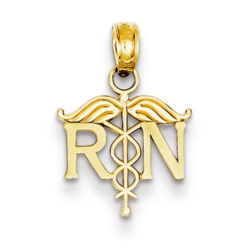 14kt Yellow Gold 1/2in Registered Nurse Petite Charm