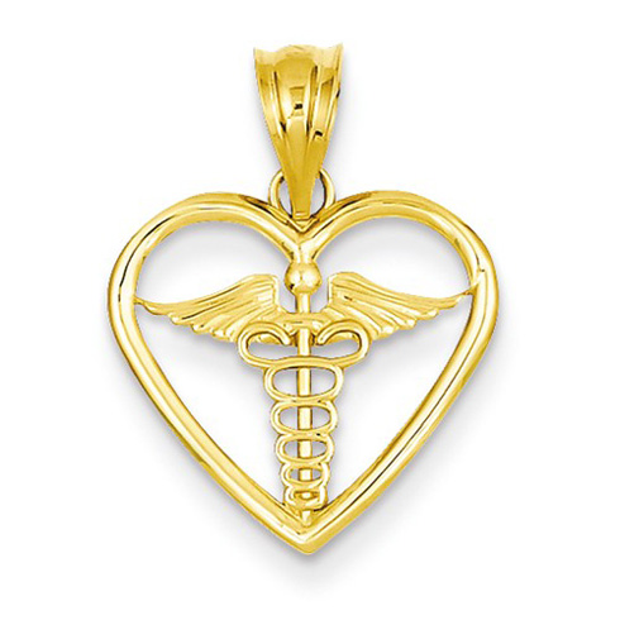 14kt Yellow Gold 5/8in Caduceus Heart Pendant