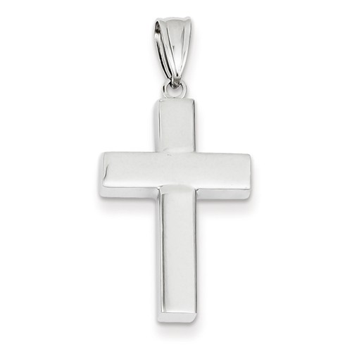 14kt White Gold 1in Hollow Strong Cross Pendant