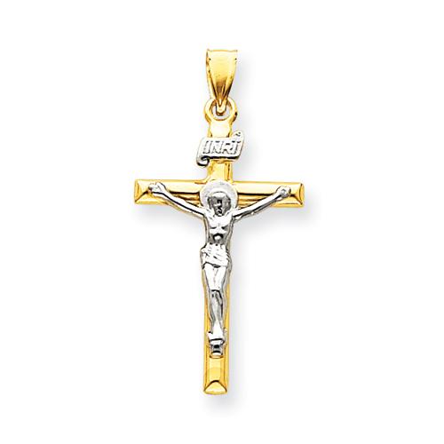 14kt Two-tone 1 1/4in INRI Hollow Crucifix Pendant
