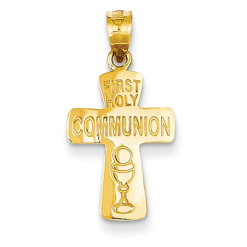 14kt Yellow Gold 5/8in First Holy Communion Cross
