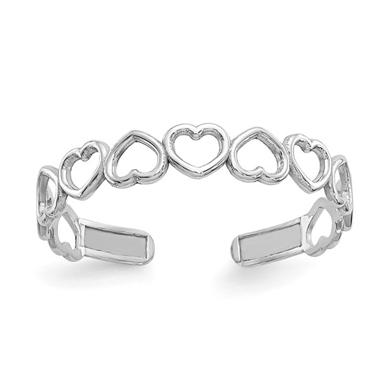 14kt White Gold Open Hearts Toe Ring
