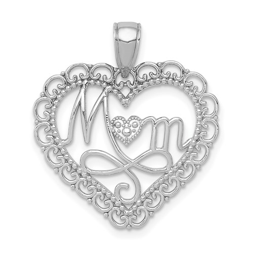 14kt White Gold 3/4in Mom Heart Pendant with Scallop Edges