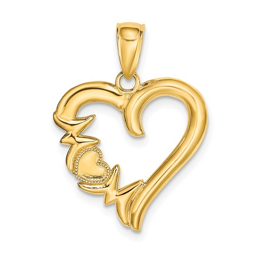 14k Yellow Gold Polished Mom Heart Pendant 3/4in