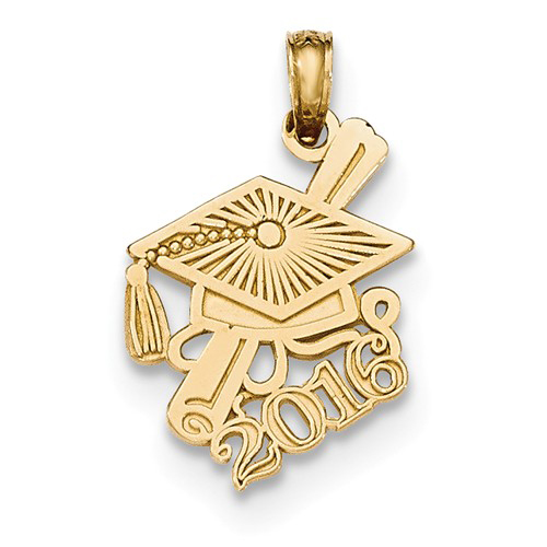 14kt Yellow Gold 3/4in 2016 Graduation Cap and Diploma Charm