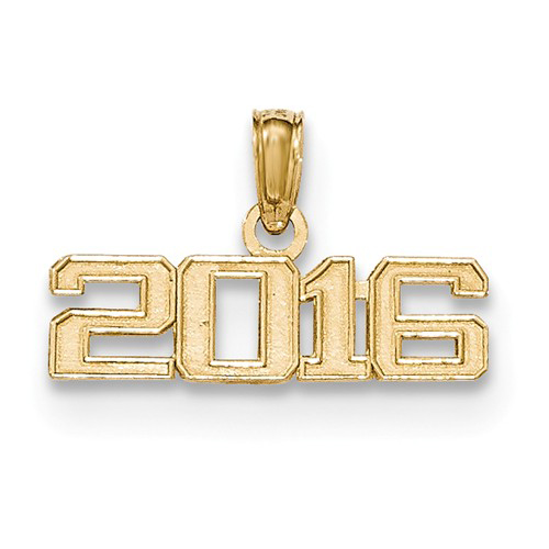 14kt Yellow Gold 3/4in Beveled 2016 Charm