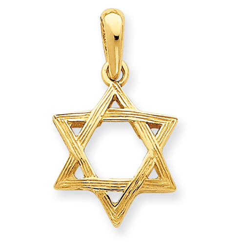 14kt Yellow Gold 5/8in Star of David Pendant with Grooves