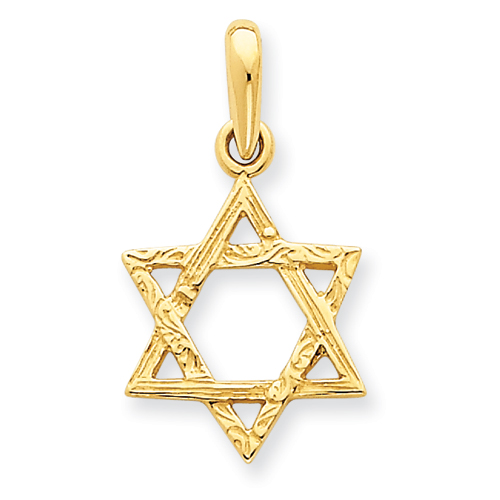 14k Yellow Gold Small Reversible Star Of David Pendant