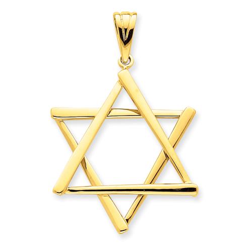 Star of David Pendant 1 5/8in 14k Yellow Gold