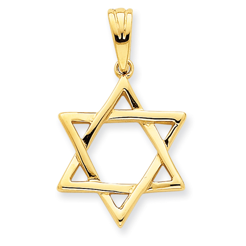 Classic Star of David Pendant 7/8in 14k Yellow Gold