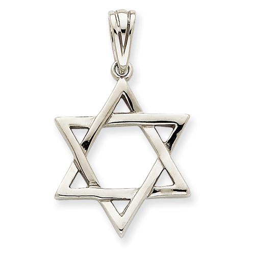 14k White Gold 7/8in Star of David Pendant