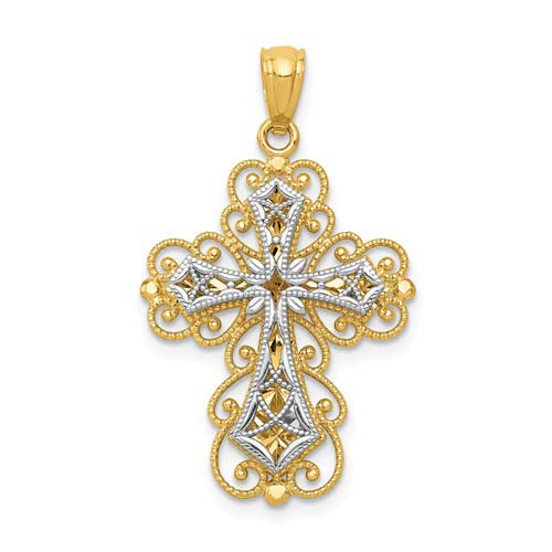 14k Two-tone Gold Filigree Cross Pendant with Two Levels 7/8in
