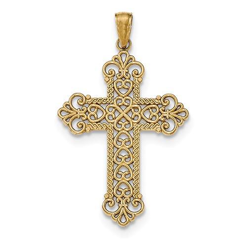 14kt Yellow Gold 1 1/4in Rope Frame Filigree Cross Pendant
