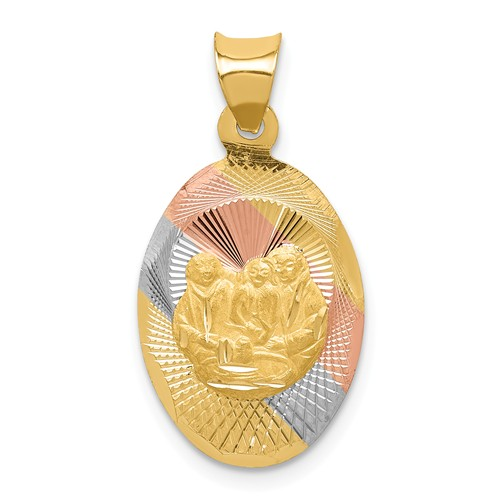 14k Yellow Gold and Rhodium Oval Baptism Pendant 5/8in