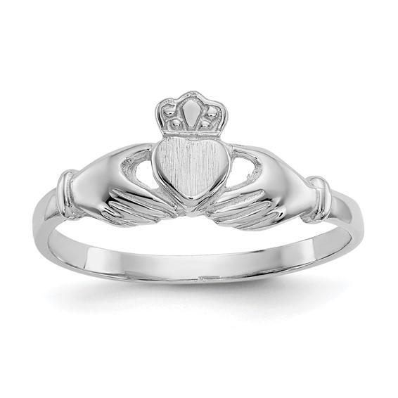 14kt White Gold Slender Claddagh Ring