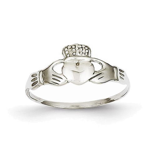 14kt White Gold Thin Claddagh Ring