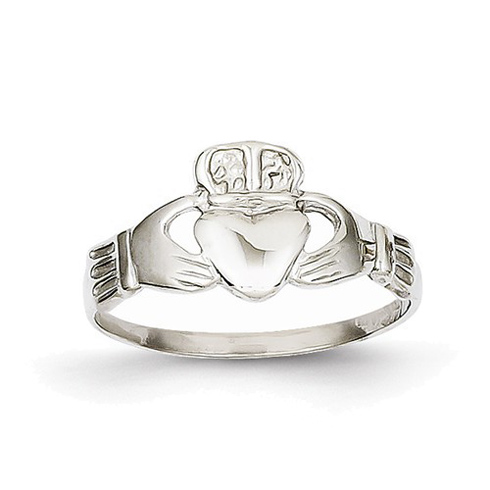 14kt White Gold Tapered Claddagh Ring