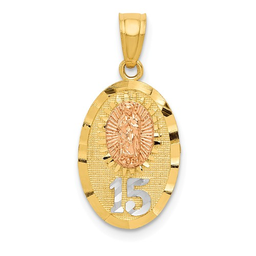 14k Two-Tone Gold White Rhodium Lady Of Guadalupe Quinceanera Pendant
