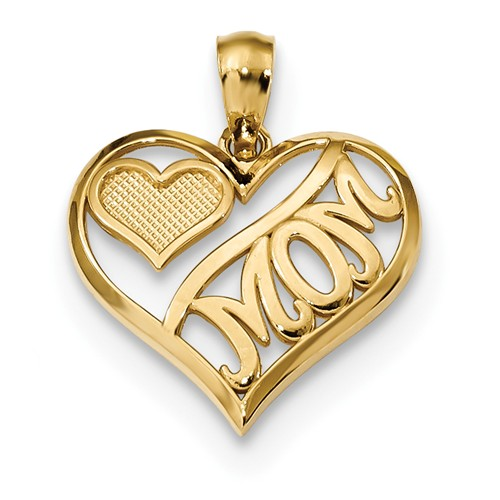 14kt Yellow Gold 5/8in Mom and Heart in Heart Pendant