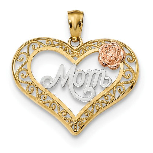 14k Gold Mom Heart Pendant with Rose Gold Rose