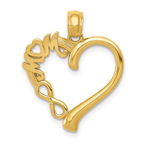 14k Yellow Gold Mom Heart Pendant with Infinity Symbol 3/4in