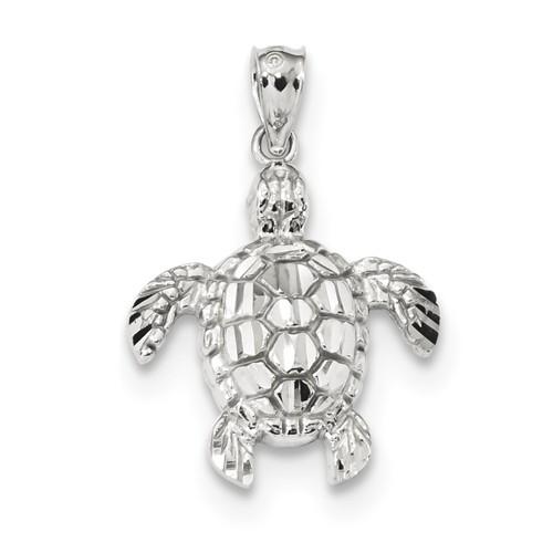 14k White Gold Sea Turtle Pendant 3/4in
