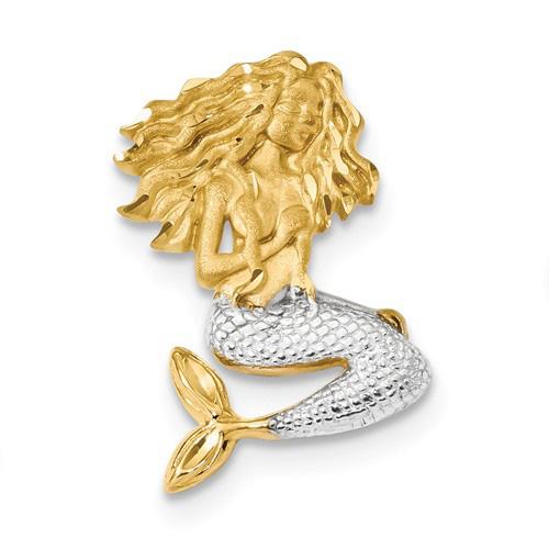 14kt Yellow Gold Rhodium 1in Sitting Mermaid Pendant