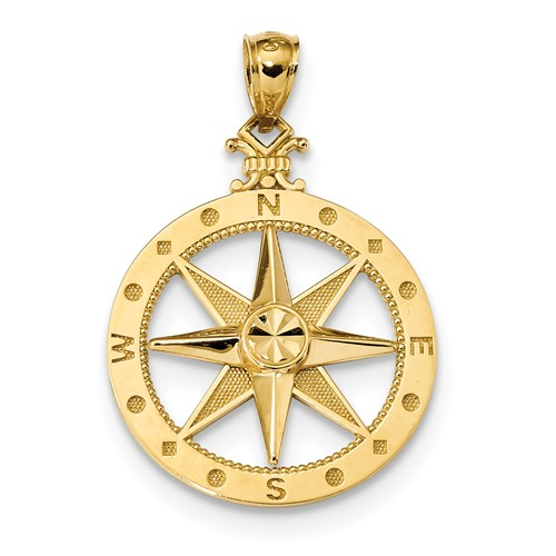 14kt Yellow Gold 7/8in Fancy Compass Pendant