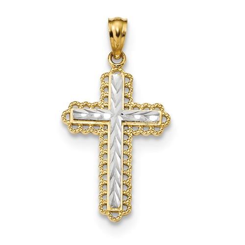 14kt Two Tone Gold 1in Filigree Budded Cross Pendant K6271