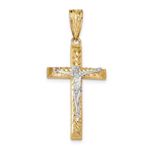 14kt Two-tone Gold 1 3/4in Diamond-cut Large Crucifix with Bead Border
