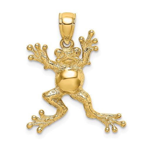 14k Yellow Gold Textured Frog Pendant with Pot Belly