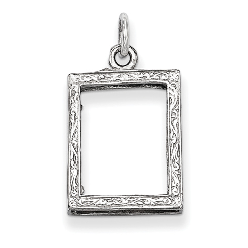 14kt White Gold 5/8in Picture Frame Pendant