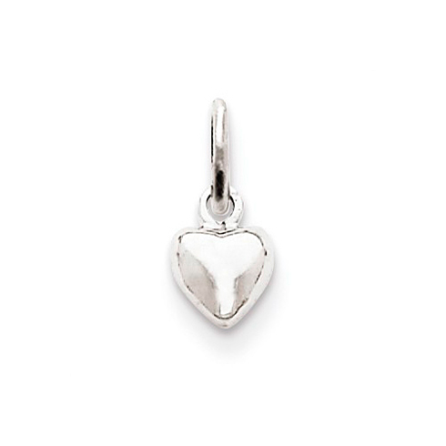 14kt White Gold 1/4in Polished Puffed Heart Charm