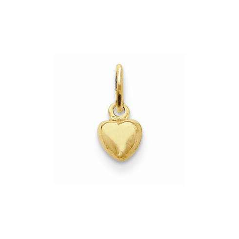14kt Yellow Gold 1/4in Polished Puffed Heart Charm