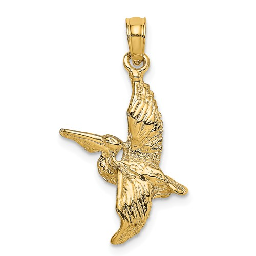 14k Yellow Gold 3-D Flying Pelican Charm 3/4in