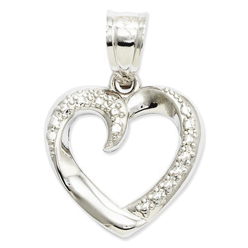 14kt White Gold 1/2in Swirled Heart Pendant