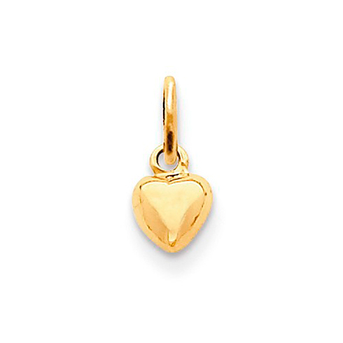 14kt Yellow Gold 1/4in Polished 3-D Heart Charm