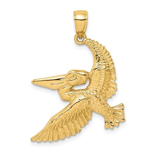 14k Yellow Gold Flying Pelican Pendant 1in