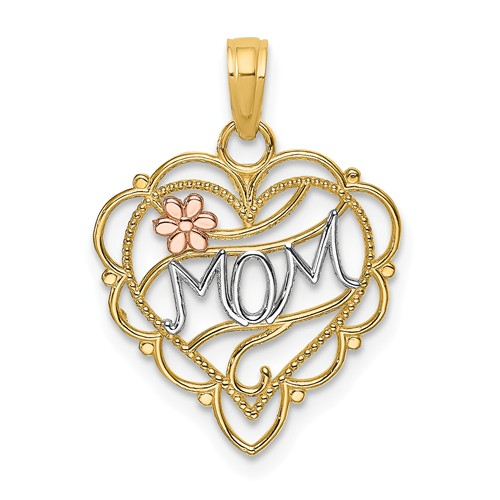 14k Two-tone Gold Mom Heart Pendant with Flower Accent 5/8in