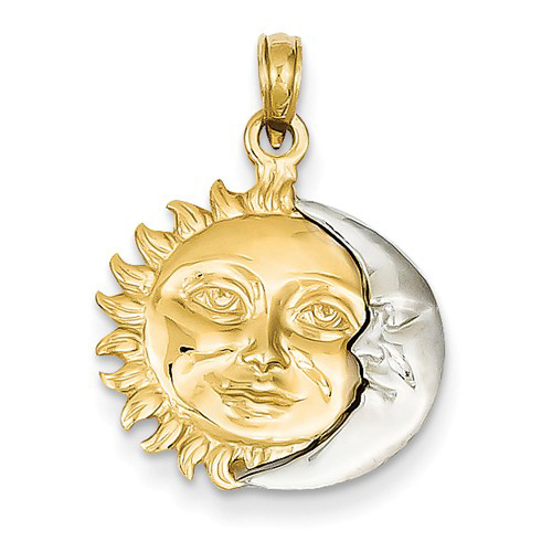 14kt Two-tone Gold Small 3-D Sun and Moon Pendant